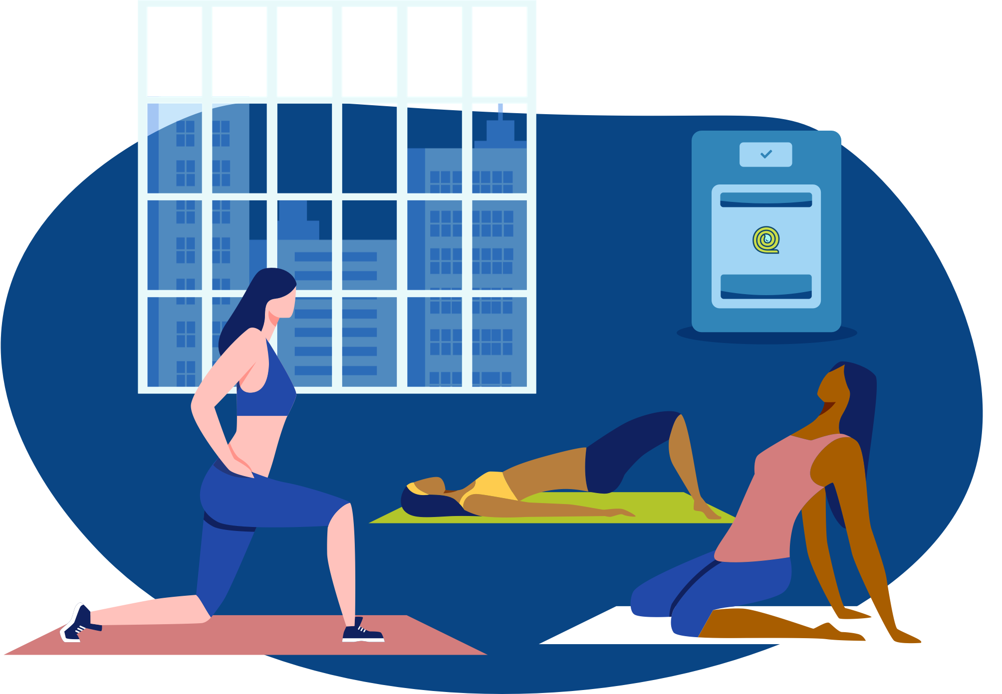 Three women in various poses on clean exercise mats within a MatFresher fitness center.